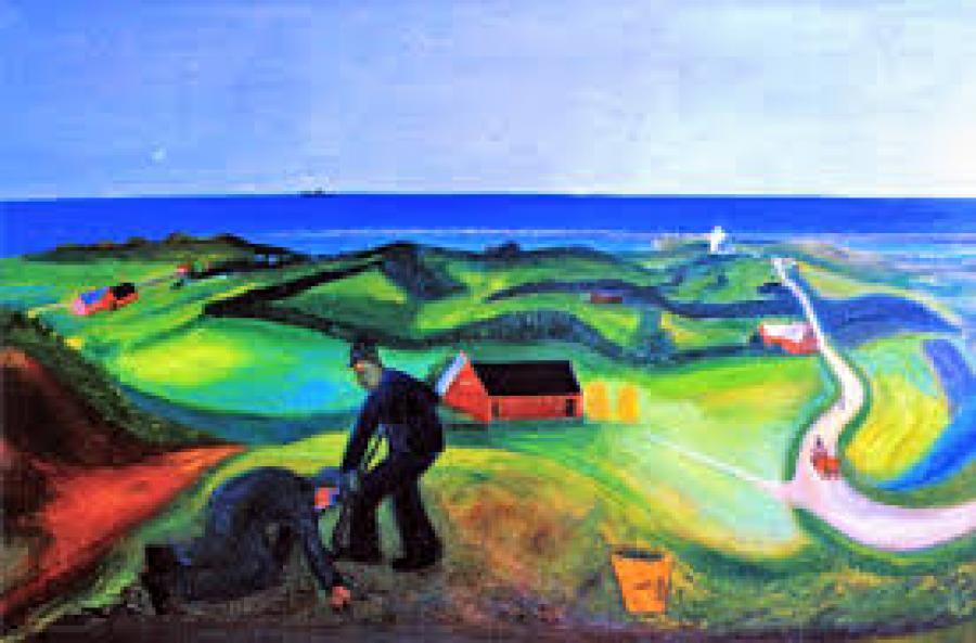 Maleri af Jens Søndergaard - Bakket dansk landskab