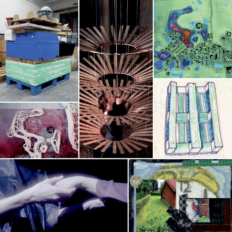 Kollage af unge kunstneres værker fra Heimat udstillingen
