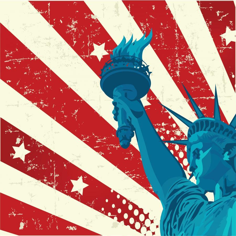 Det amerikanske flag med frihedsgudinden i forgrunden